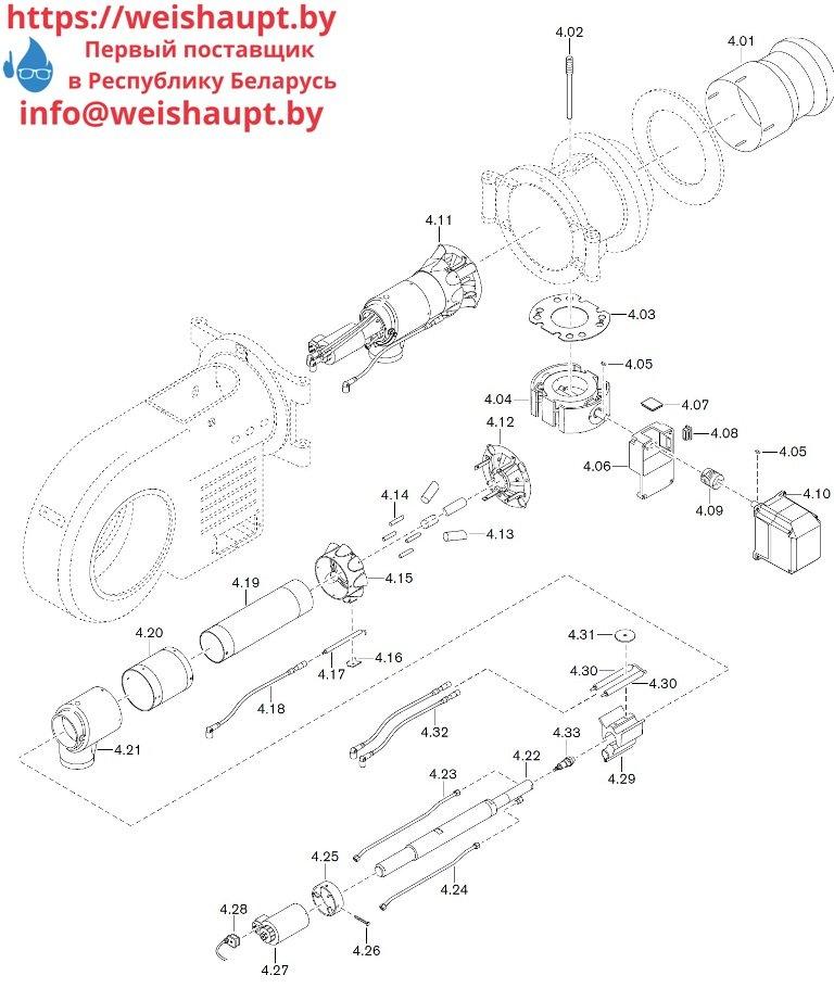 Запасные части к комбинированной горелке Weishaupt WM-GL30/3-A/ZM-R (W-FM 54). Схема 4.