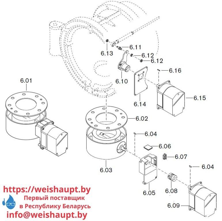 Запасные части к комбинированной горелке Weishaupt WM-GL50/2-A/ZM-R-NR (W-FM 100/200). Схема 6.
