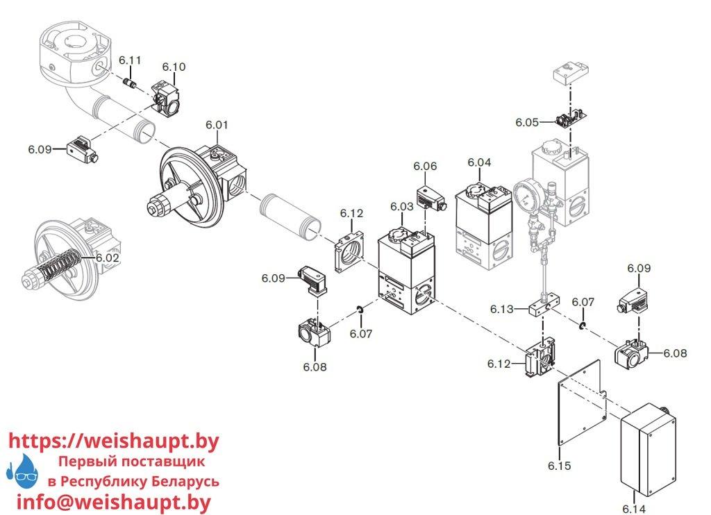 Запасные части к комбинированной горелке Weishaupt WM-GL10/1-A/ZM-T (W-FM 100). Схема 6.