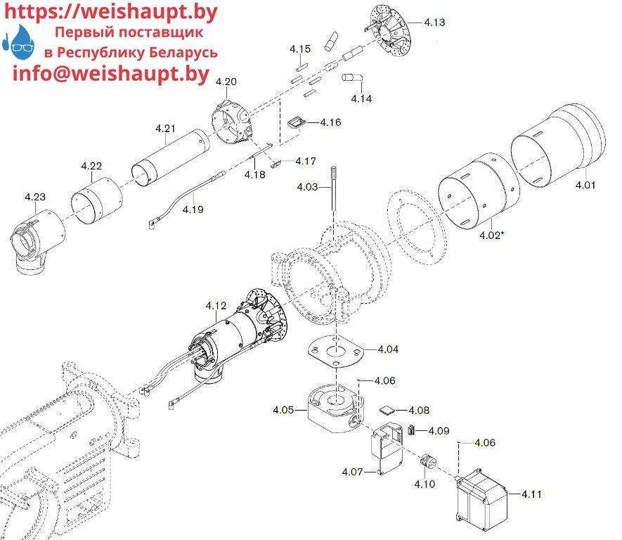 Запасные части к комбинированной горелке Weishaupt WM-GL10/1-A/ZM-T (W-FM 54). Схема 4.