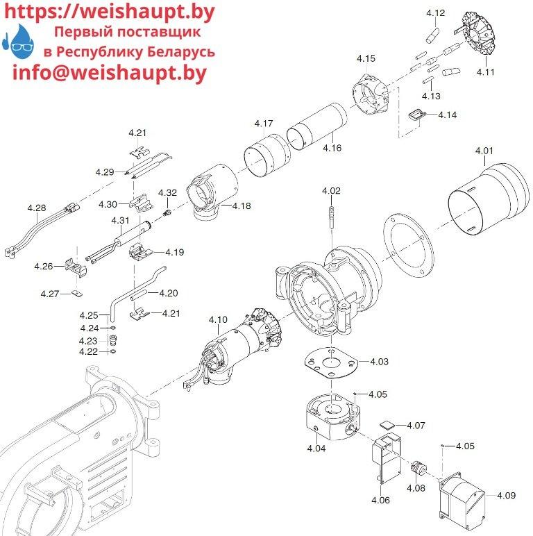 Запасные части к комбинированной горелке Weishaupt WM-GL10/2-A/ZM-R (W-FM 100). Схема 4.