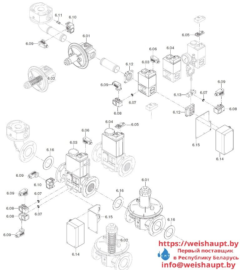 Запасные части к комбинированной горелке Weishaupt WM-GL10/2-A/ZM-R (W-FM 100). Схема 6.