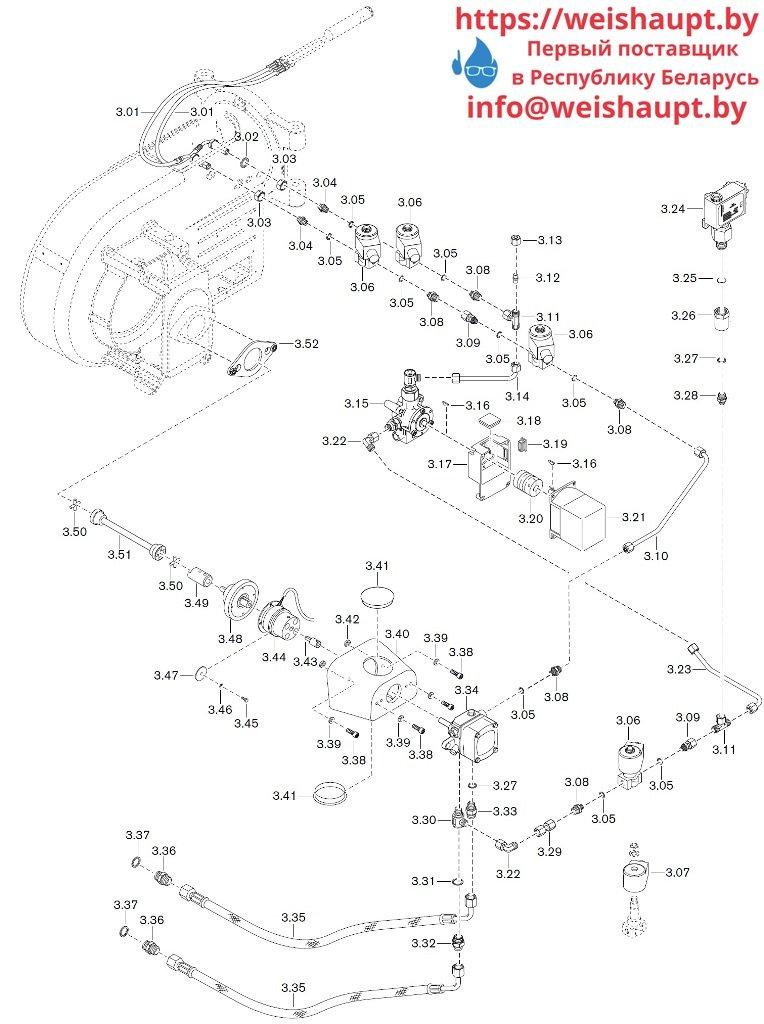 Запасные части к комбинированной горелке Weishaupt WM-GL10/2-A/ZM-R (W-FM 54). Схема 3.