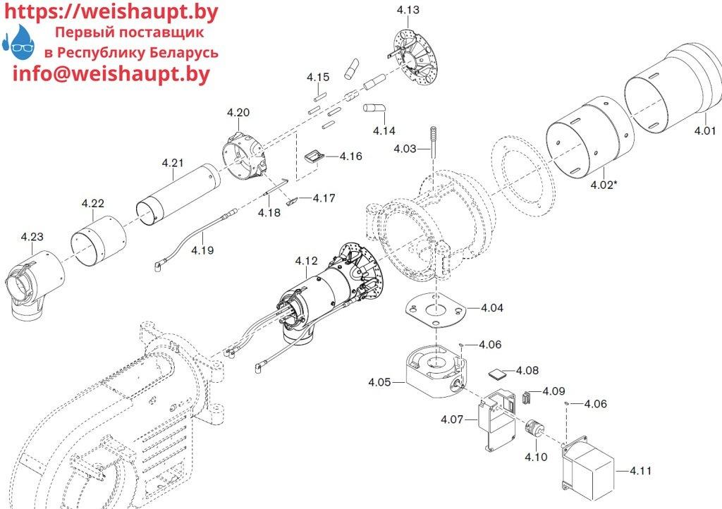 Запасные части к комбинированной горелке Weishaupt WM-GL10/2-A/ZM-R (W-FM 54). Схема 4.
