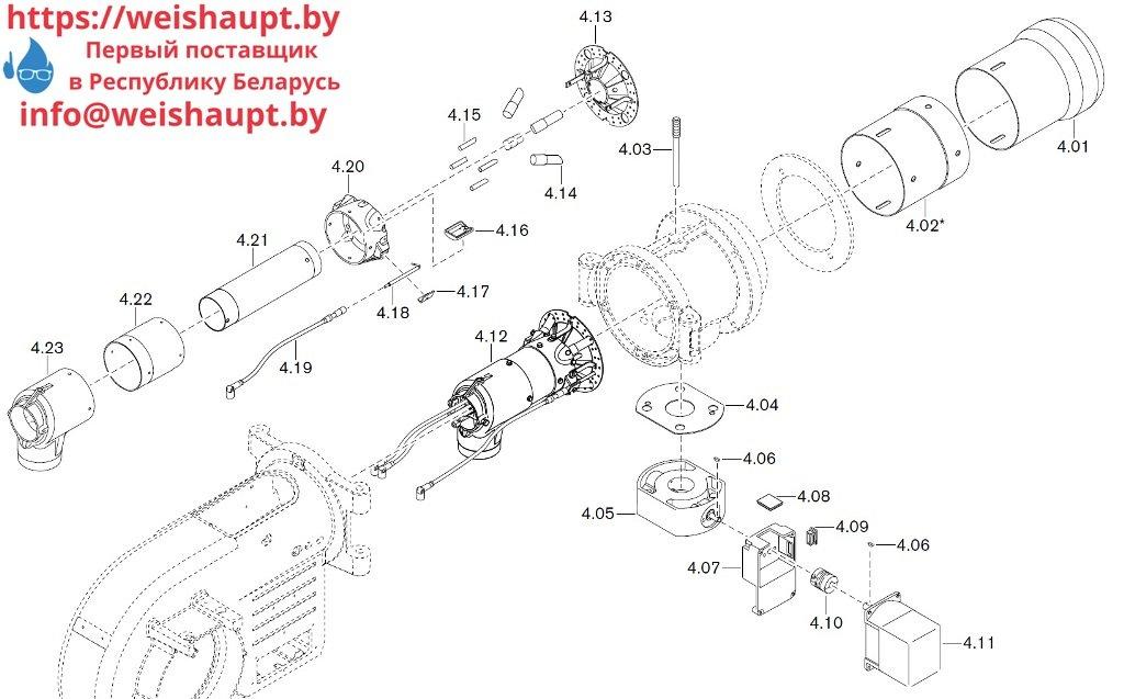 Запасные части к комбинированной горелке Weishaupt WM-GL10/2-A/ZM-T (W-FM 54). Схема 4.