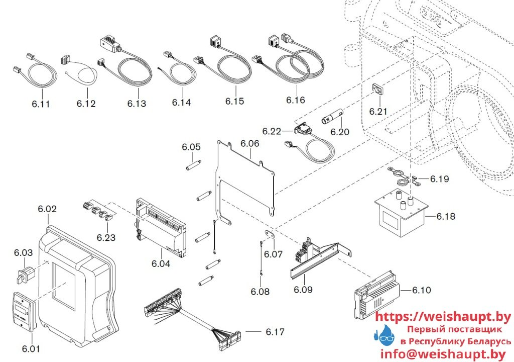 Запасные части к комбинированной горелке Weishaupt WM-GL10/2-A/ZM-T (W-FM 54). Схема 6.