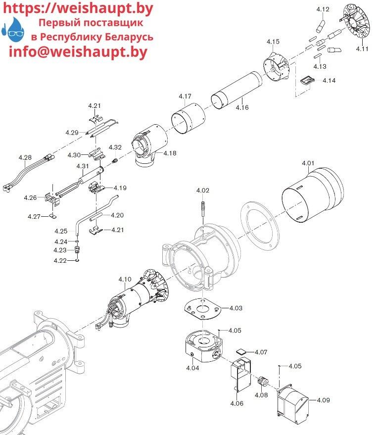 Запасные части к комбинированной горелке Weishaupt WM-GL10/3-A/ZM-R (W-FM 100). Схема 4.