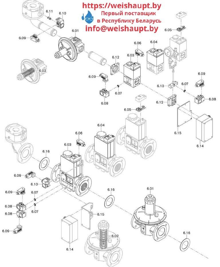 Запасные части к комбинированной горелке Weishaupt WM-GL10/3-A/ZM-R (W-FM 100). Схема 6.