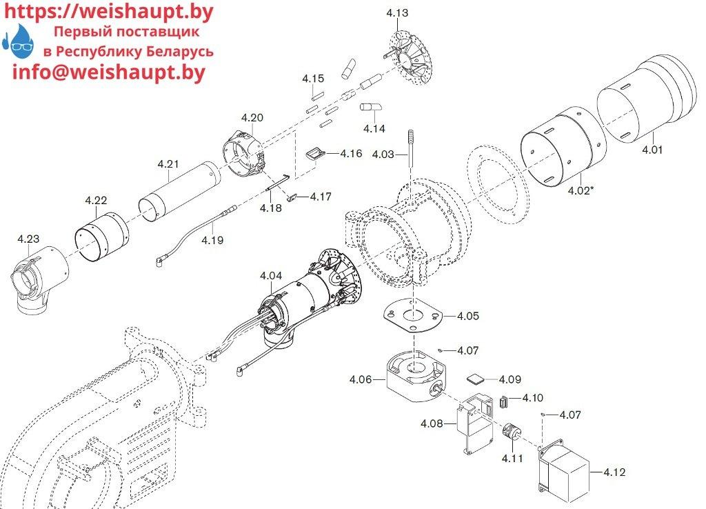 Запасные части к комбинированной горелке Weishaupt WM-GL10/3-A/ZM-R (W-FM 54). Схема 4.
