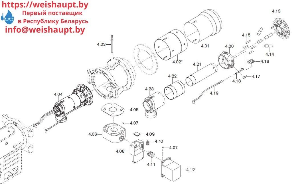 Запасные части к комбинированной горелке Weishaupt WM-GL10/3-A/ZM-T (W-FM 54). Схема 4.