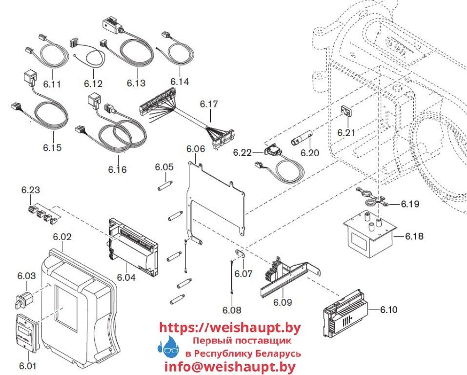 Запасные части к комбинированной горелке Weishaupt WM-GL10/3-A/ZM-T (W-FM 54). Схема 6.