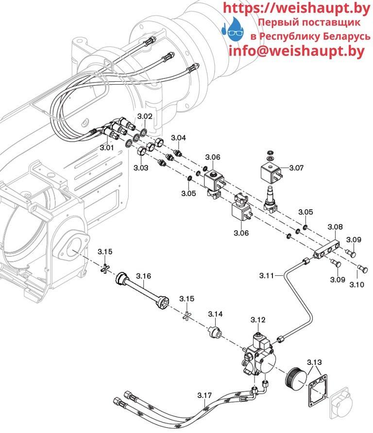 Запасные части к комбинированной горелке Weishaupt WM-GL10/3-A/ZM-T. Схема 3.