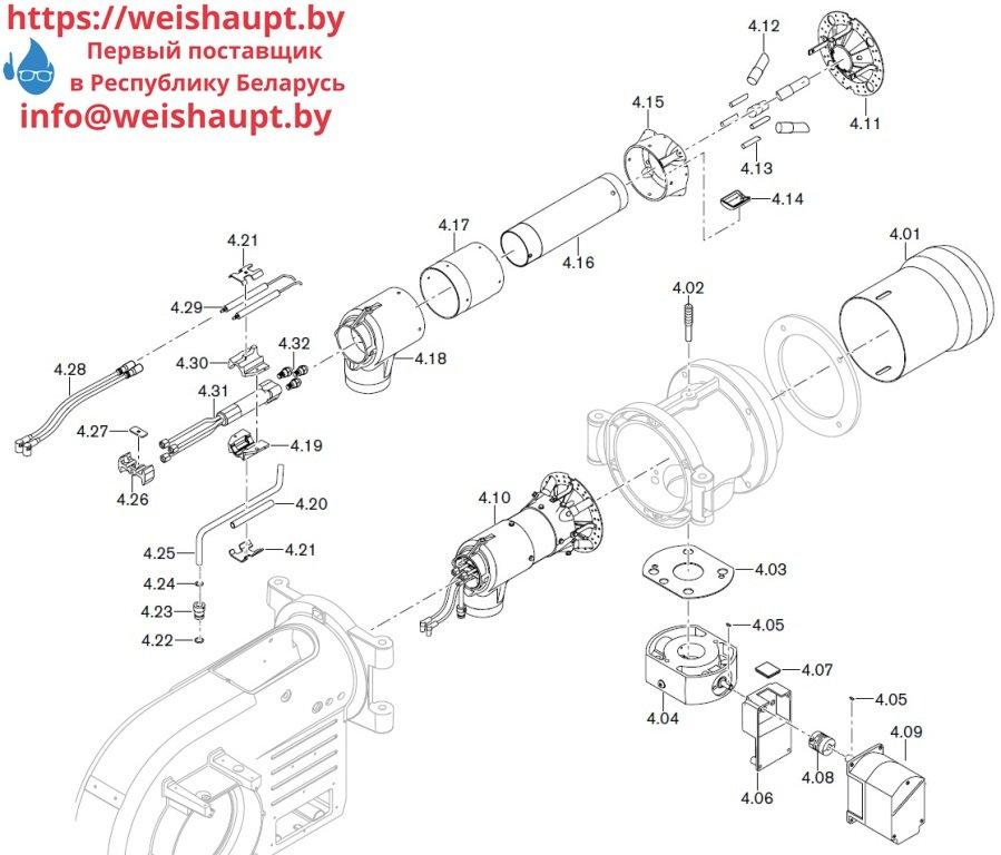 Запасные части к комбинированной горелке Weishaupt WM-GL10/3-A/ZM-T. Схема 4.