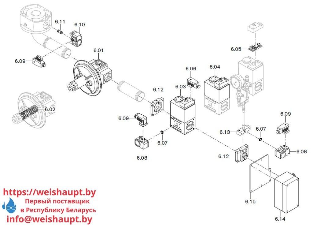 Запасные части к комбинированной горелке Weishaupt WM-GL10/3-A/ZM-T. Схема 6-1.