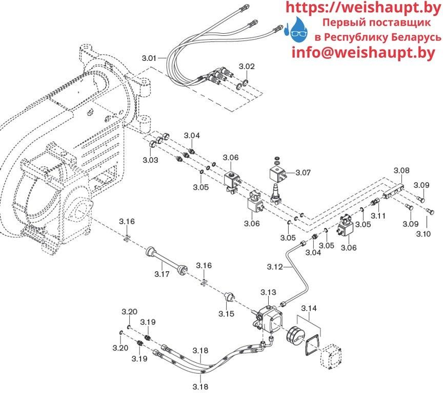 Запасные части к комбинированной горелке Weishaupt WM-GL10/4-A/ZM-T (W-FM 54). Схема 3.