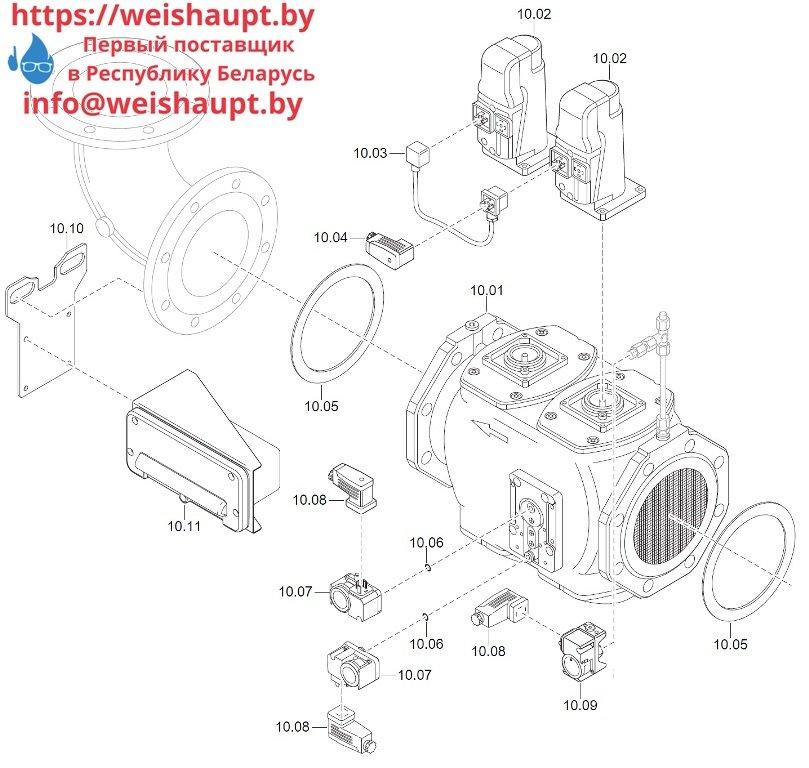 Запасные части к комбинированной горелке Weishaupt WM-GL20/2-A/ZM-T (W-FM 100/200). Схема 10.