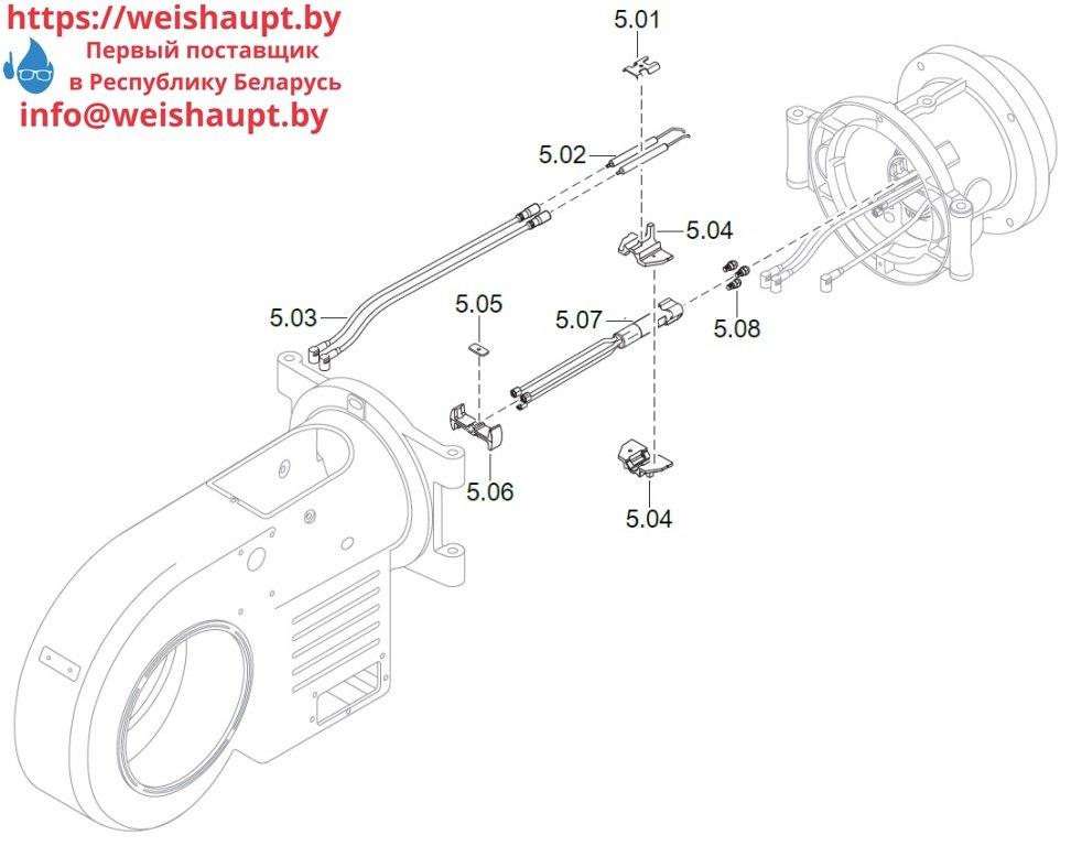Запасные части к комбинированной горелке Weishaupt WM-GL20/2-A/ZM-T (W-FM 100/200). Схема 5.