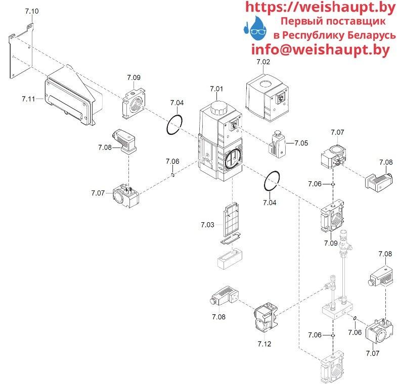 Запасные части к комбинированной горелке Weishaupt WM-GL20/2-A/ZM-T (W-FM 100/200). Схема 7.