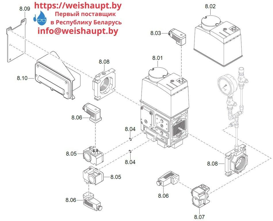 Запасные части к комбинированной горелке Weishaupt WM-GL20/2-A/ZM-T (W-FM 100/200). Схема 8.