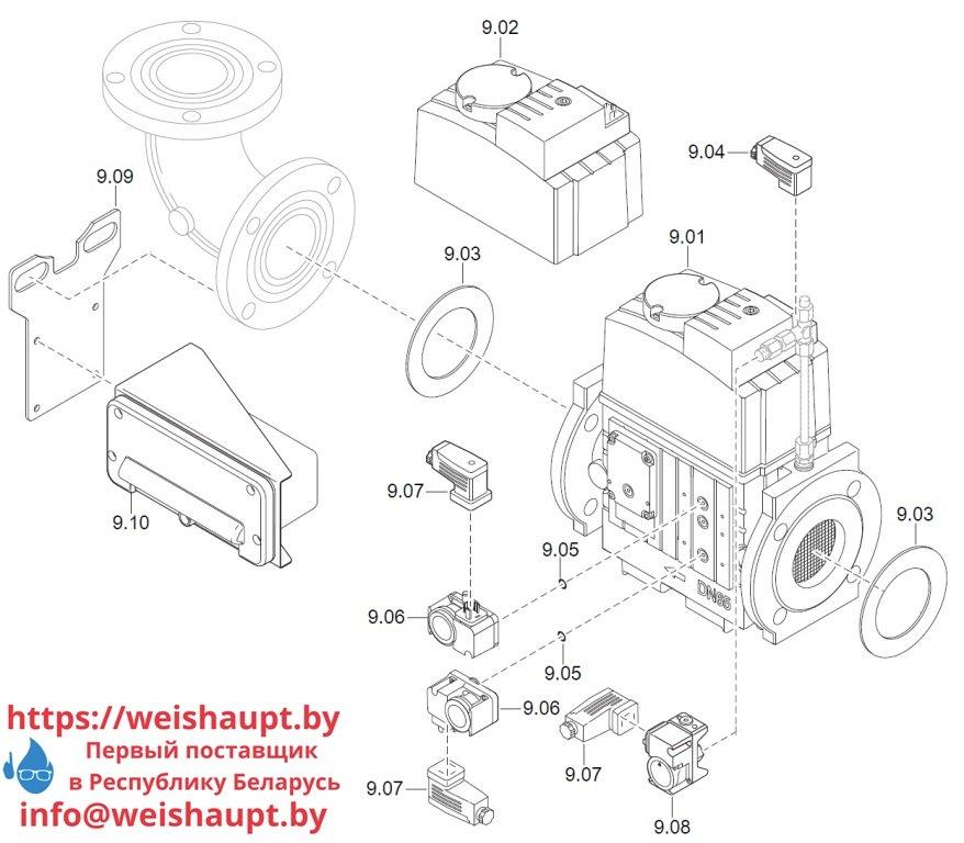 Запасные части к комбинированной горелке Weishaupt WM-GL20/2-A/ZM-T (W-FM 100/200). Схема 9.
