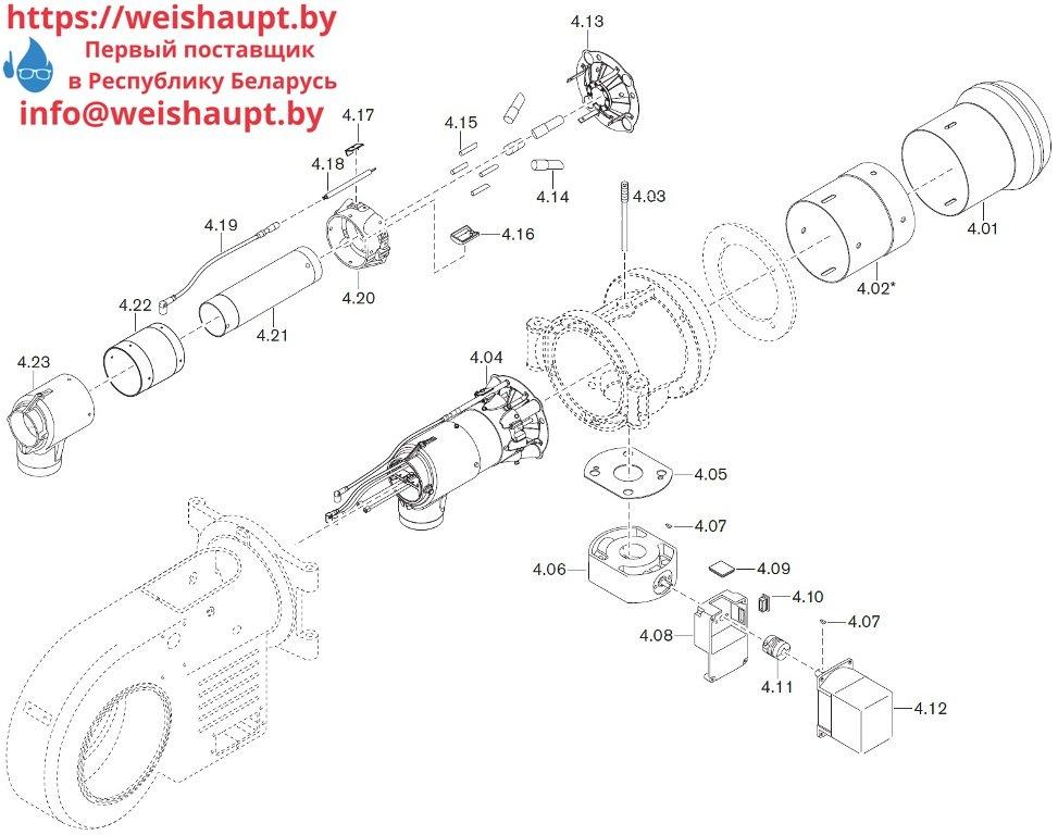 Запасные части к комбинированной горелке Weishaupt WM-GL20/3-A/ZM-R (W-FM 54). Схема 4.