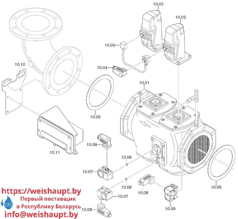 Запасные части к комбинированной горелке Weishaupt WM-GL20/3-A/ZM-T (W-FM 100/200). Схема 10.