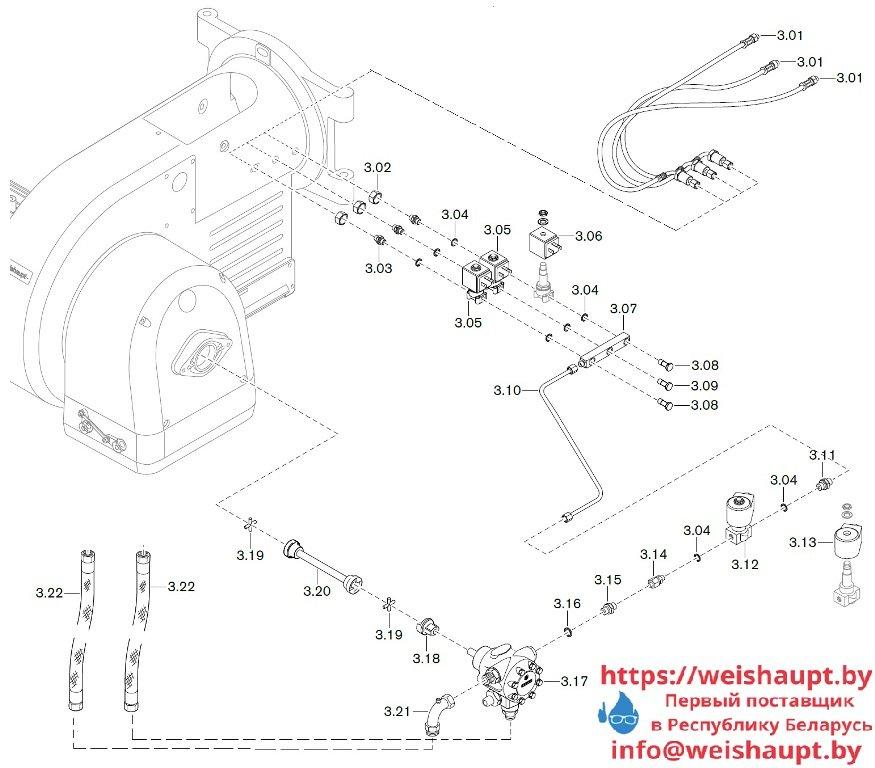 Запасные части к комбинированной горелке Weishaupt WM-GL20/3-A/ZM-T (W-FM 100/200). Схема 3.