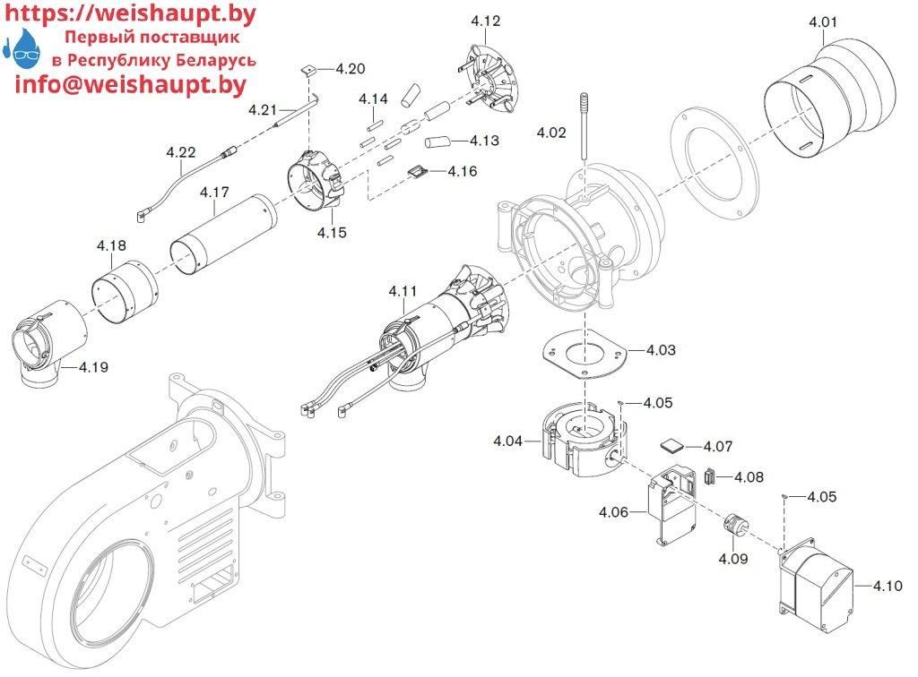 Запасные части к комбинированной горелке Weishaupt WM-GL20/3-A/ZM-T (W-FM 100/200). Схема 4.
