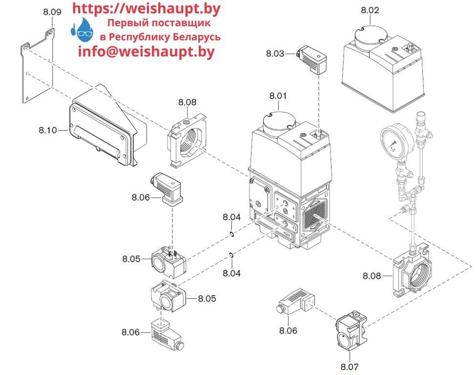 Запасные части к комбинированной горелке Weishaupt WM-GL20/3-A/ZM-T (W-FM 100/200). Схема 8.