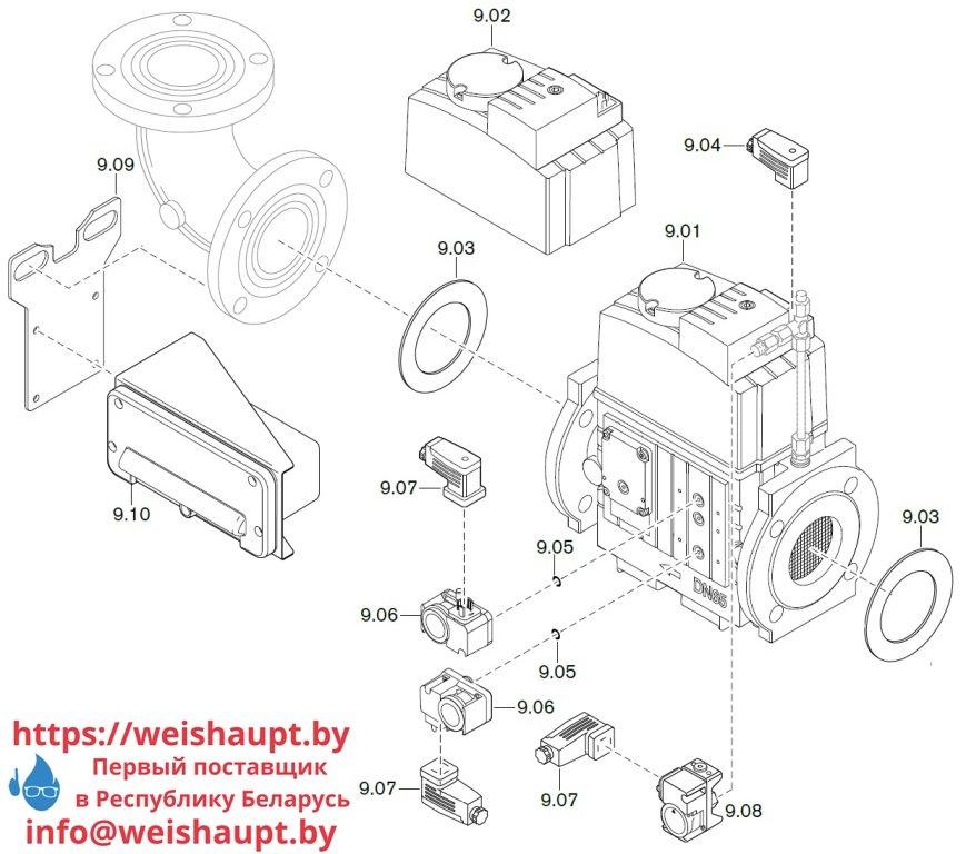 Запасные части к комбинированной горелке Weishaupt WM-GL20/3-A/ZM-T (W-FM 100/200). Схема 9.