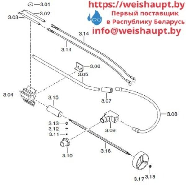 Запчасти к газовым горелочным устройствам Weishaupt G50/1-B ZM-NR. Схема 3.