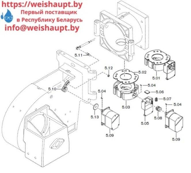 Запчасти к газовым горелочным устройствам Weishaupt G50/1-B ZM-NR. Схема 5.