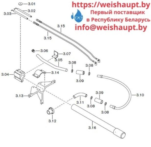 Запчасти к газовым горелочным устройствам Weishaupt G60/2-A ZM-NR (W-FM 100/200). Схема 3.