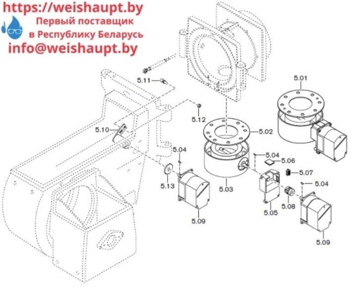Запчасти к газовым горелочным устройствам Weishaupt G60/2-A ZM-NR (W-FM 100/200). Схема 5.