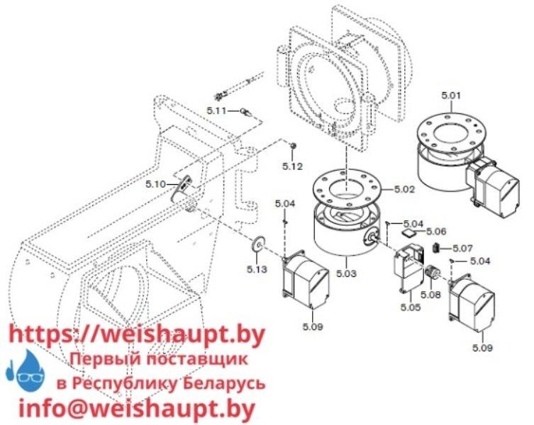 Запчасти к газовым горелочным устройствам Weishaupt G70/1-B ZM-NR. Схема 5.