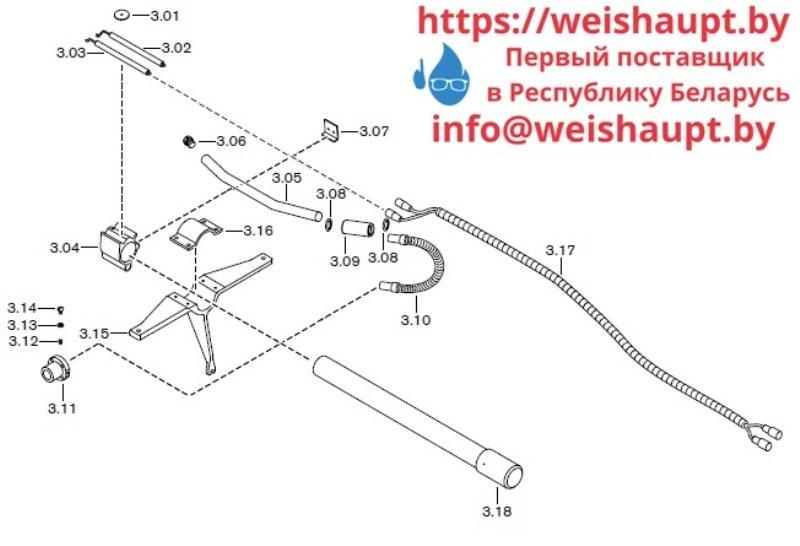 Запчасти к газовым горелочным устройствам Weishaupt G70/3-A ZM-NR. Схема 3.