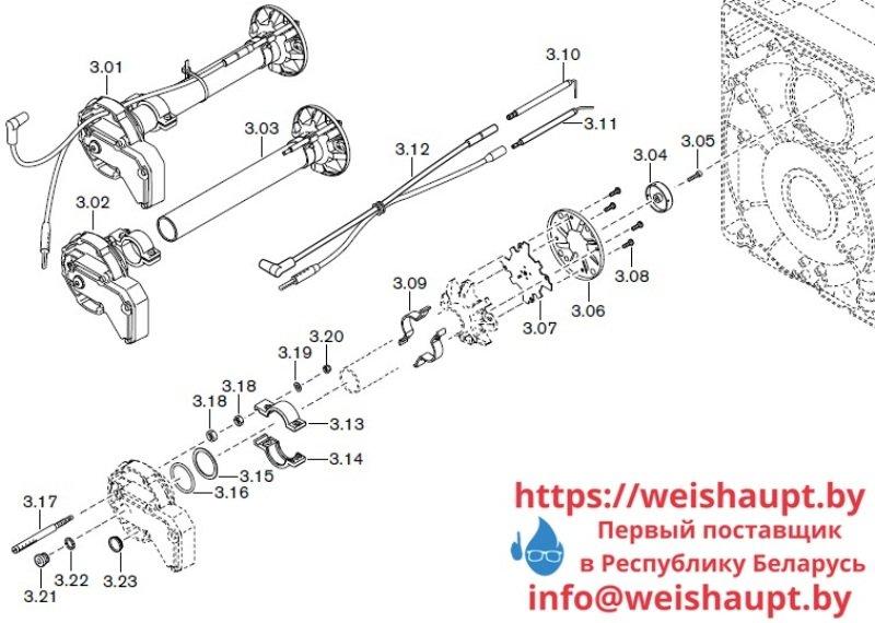 Запчасти к газовым горелочным устройствам Weishaupt WG10.../1-D LN. Схема 3.