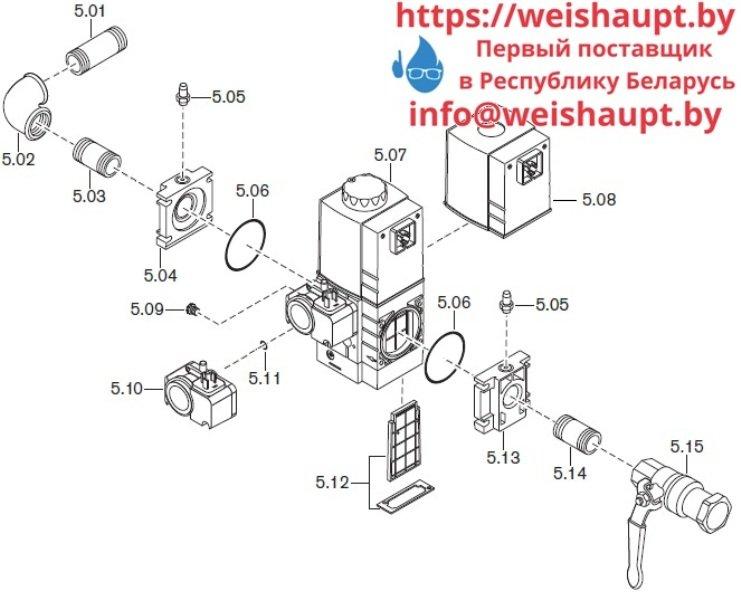 Запчасти к газовым горелочным устройствам Weishaupt WG10.../1-D Z-LN. Схема 5.