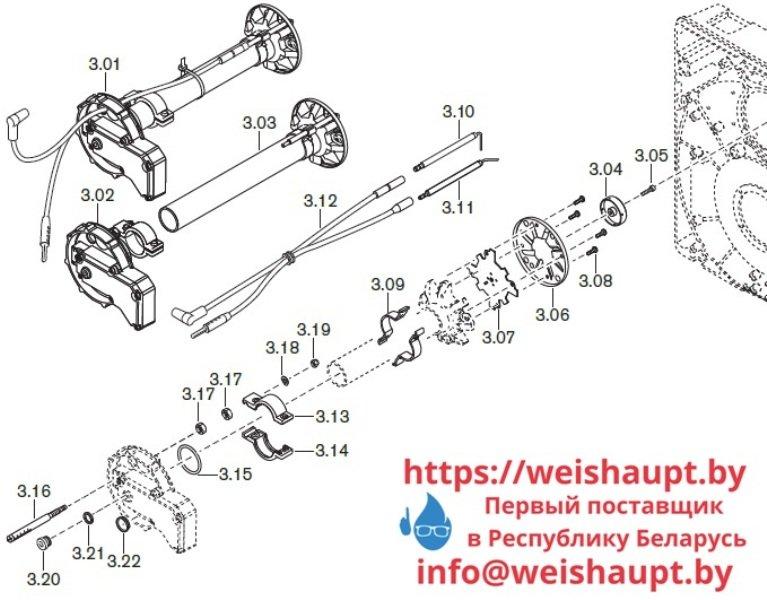 Запчасти к газовым горелочным устройствам Weishaupt WG20.../1-C Z-LN. Схема 3.