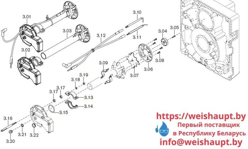 Запчасти к газовым горелочным устройствам Weishaupt WG20.../1-C ZM-LN. Схема 3.