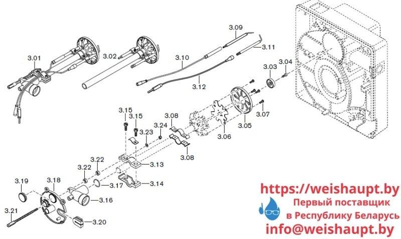 Запчасти к газовым горелочным устройствам Weishaupt WG5.../1-A LN. Схема 3.
