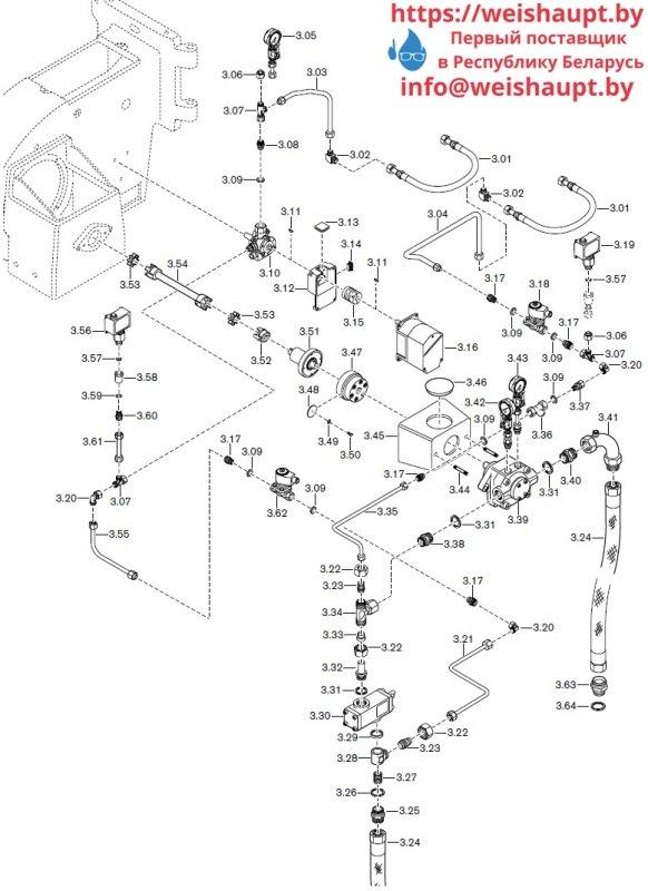 Запасные части к комбинированной горелке Weishaupt RGL50/2-A ZM-NR (W-FM 100/200). Схема 3.