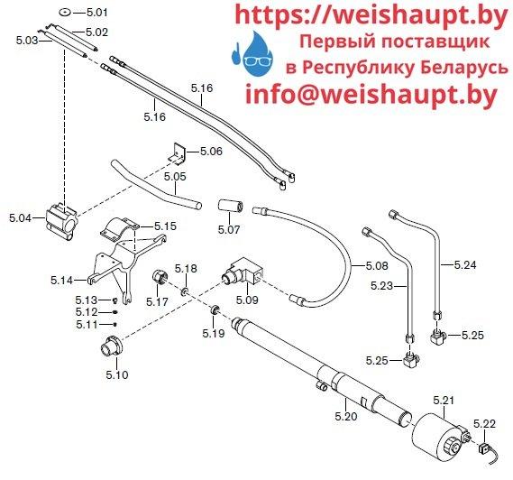 Запасные части к комбинированной горелке Weishaupt RGL50/2-A ZM-NR (W-FM 100/200). Схема 5.