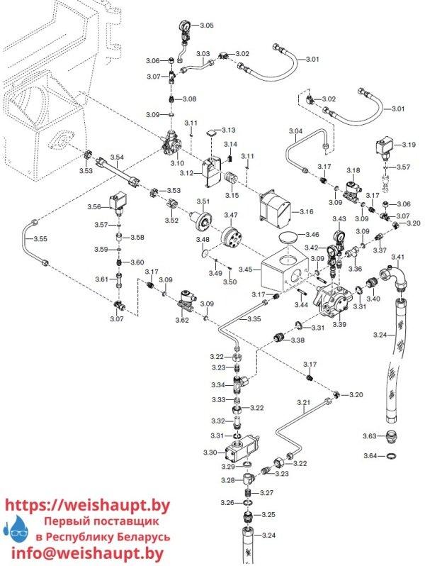 Запасные части к комбинированной горелке Weishaupt RGL60/2-A ZM-NR (W-FM 100/200). Схема 3.