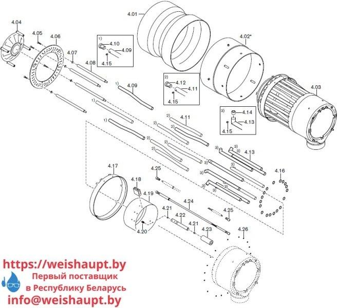 Запасные части к комбинированной горелке Weishaupt RGL60/2-A ZM-NR (W-FM 100/200). Схема 4.