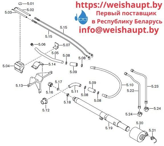 Запасные части к комбинированной горелке Weishaupt RGL60/2-A ZM-NR (W-FM 100/200). Схема 5.
