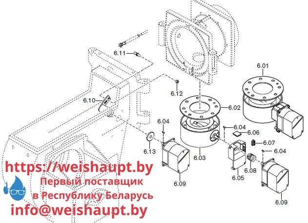 Запасные части к комбинированной горелке Weishaupt RGL60/2-A ZM-NR (W-FM 100/200). Схема 6.