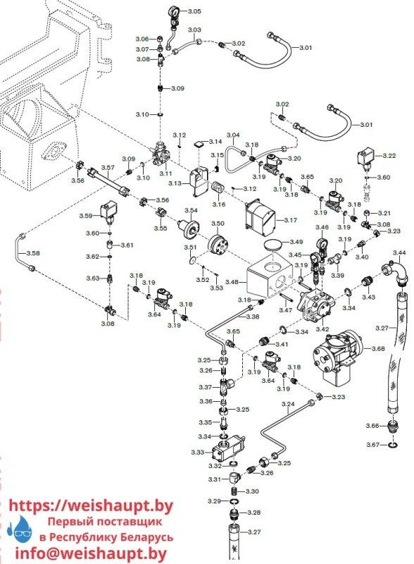 Запасные части к комбинированной горелке Weishaupt RGL70/1-B 3LN (W-FM 100/200). Схема 3.