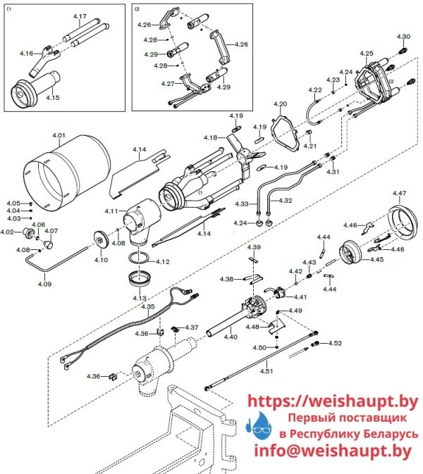 Запасные части к комбинированной горелке Weishaupt RGL70/1-B 3LN (W-FM 100/200). Схема 4.
