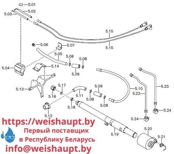 Запасные части к комбинированной горелке Weishaupt RGL70/1-B ZM-NR (W-FM 100/200). Схема 5.
